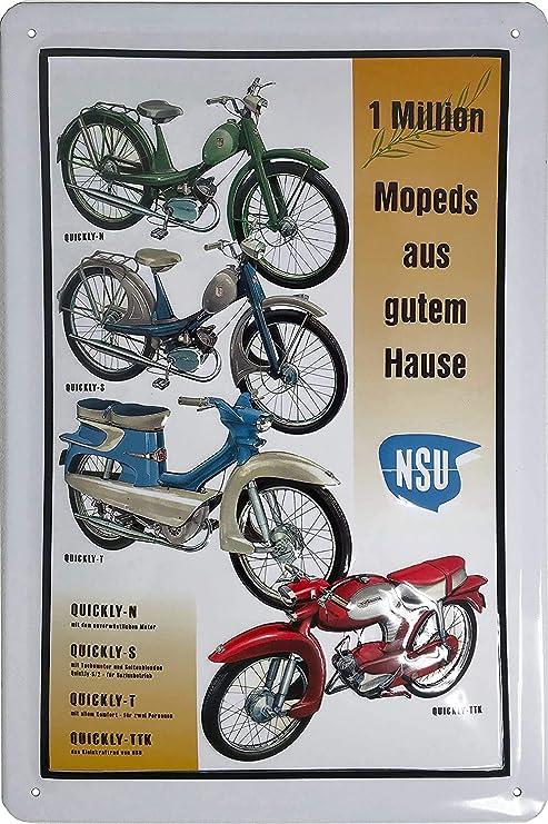 Nsu Quickly Moped Mofa Collage Hochwertig Geprägtes Retro Werbeschild Blechschild Türschild Wandschild 30 X 20 Cm Küche Haushalt