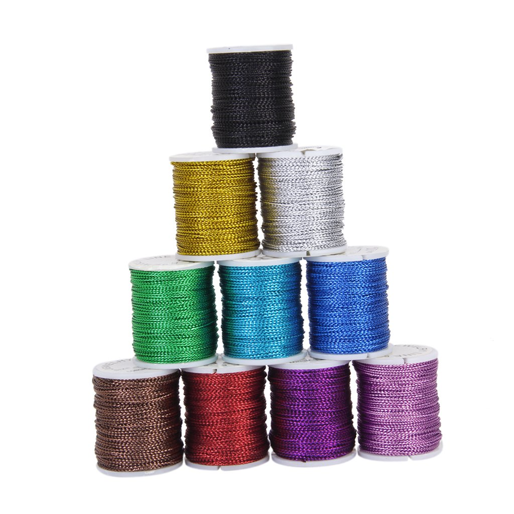 10pcs Rolls Mixed Color Multifunctional String Metallic Jewelry Cord Card Braid--0.5mm Generic VBPUKALIHAZA840