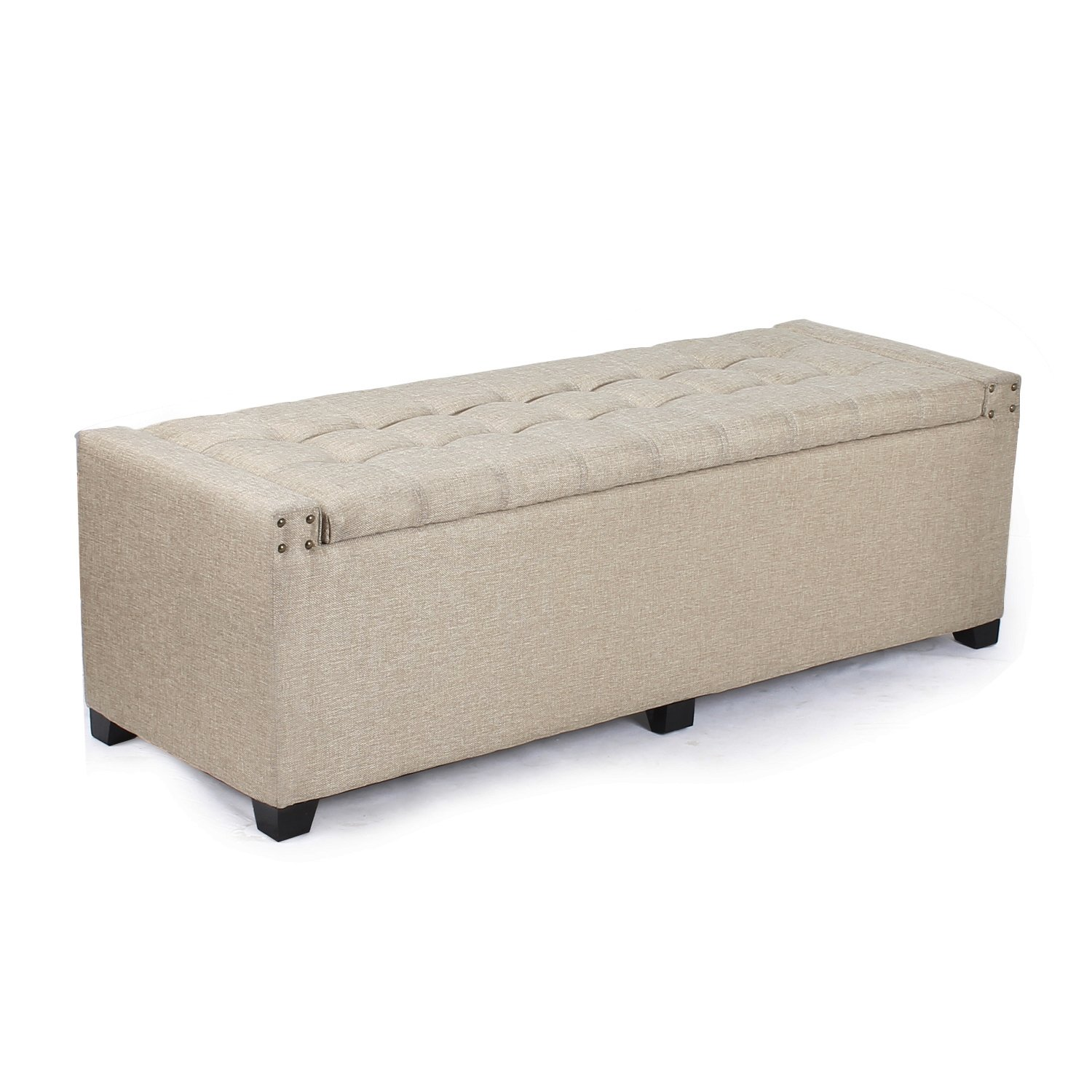 DecentHome Rectangular Storage Ottoman Bench Footstool with Solid Wood Legs (Cream Fabric)