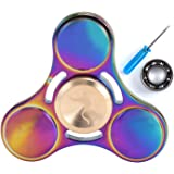 Syourself Titanium Alloy Tri-Spinner Hand Fidget Toy, +1 Replacement Hybrid Ceramic Bearing- 5-7 mins High Speed & Quiet Spin EDC Focus Toy for Stress Relieve Anxiety Adult Children(Round Rainbow)