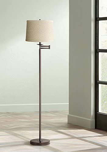 Modern Swing Arm Floor Lamp Bronze Natural Linen Drum Shade