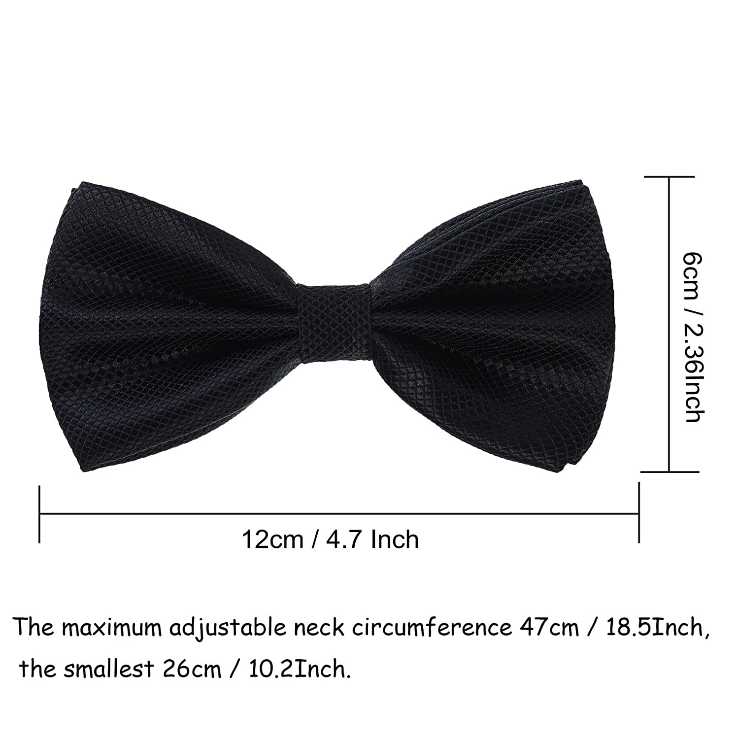 Mens Boys Formal Bow Ties - 6 Pack of Solid Color Adjustable Pre Tied Bowties (White)