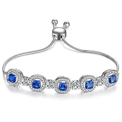 Amazon Com Caperci Adjustable White Gold Plated Cushion Cut Blue