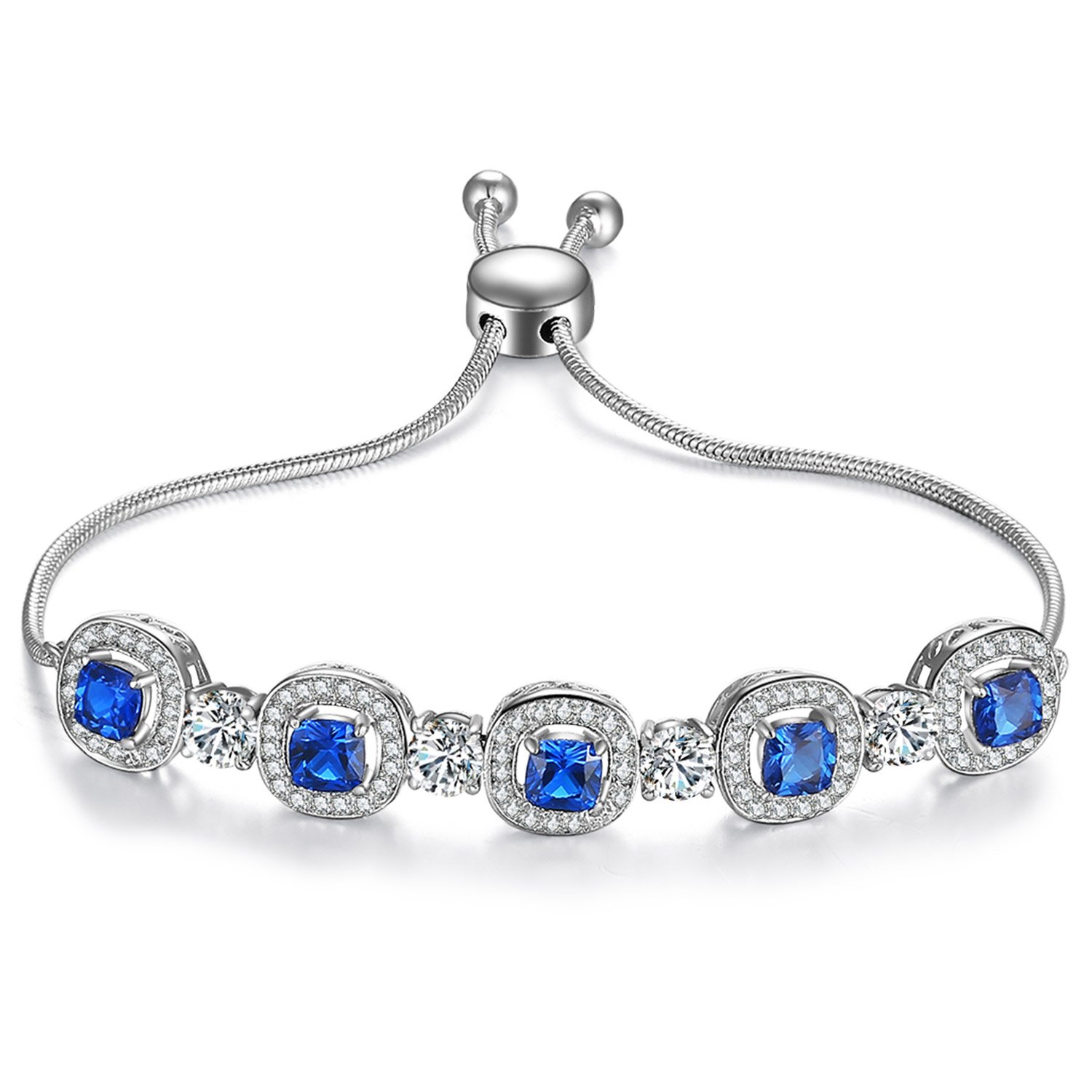Caperci Adjustable White Gold Plated Cushion-Cut Blue Sapphire Jewelry Bolo Bracelet for Women