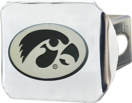 University of Iowa Hawkeyes Brushed Silver with Chrome Tiger Hawk Emblem NCAA College Sports Trailer Hitch Cover Fits 2 Inch Auto Car Truck Receiver