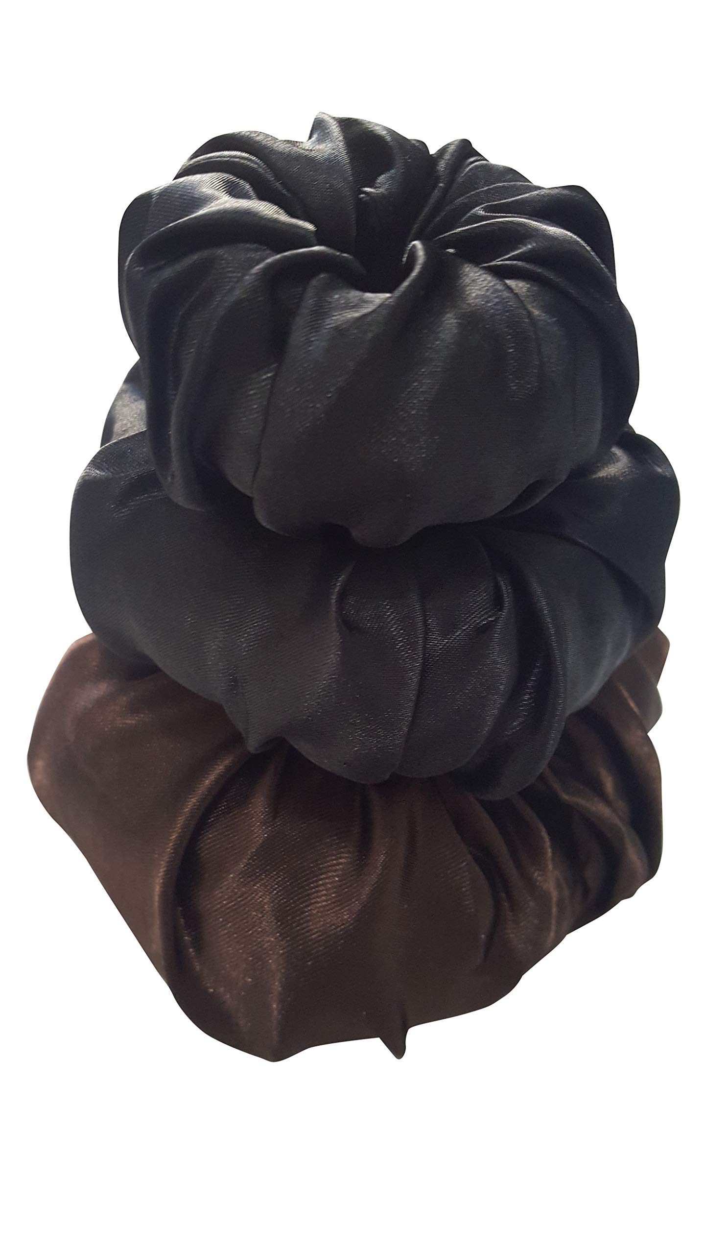 Satin Donut Hair Bun Maker (3-Pack) (3-Sizes) Easy Updo for Messy, Braided, Natural, or French Twists   Small, Medium, Large   Fits Girls, Teens, and Women by Always Eleven