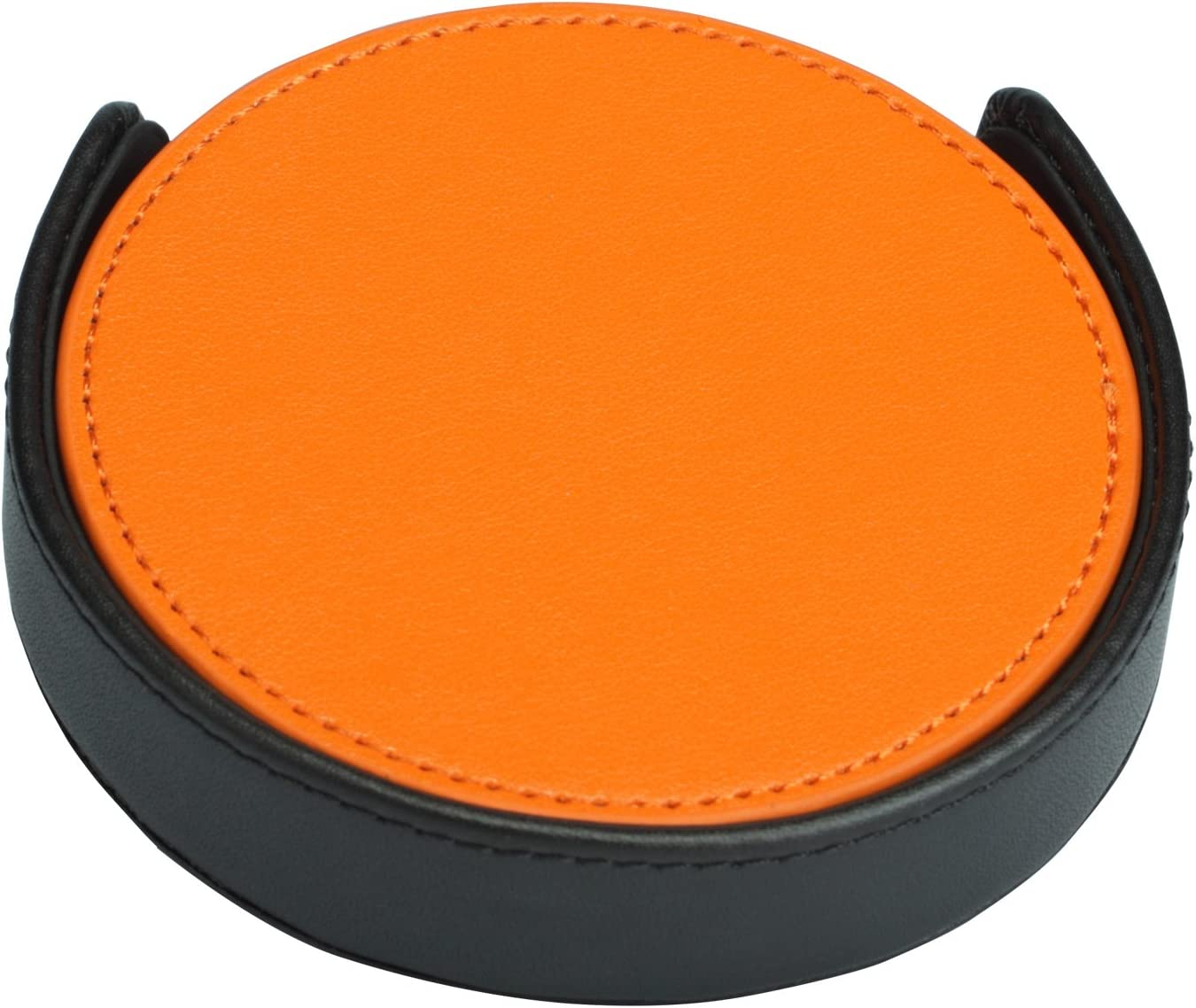Faux Leather Coaster 4 Pieces Orange Coaster with Black Holder by Magic Vosom
