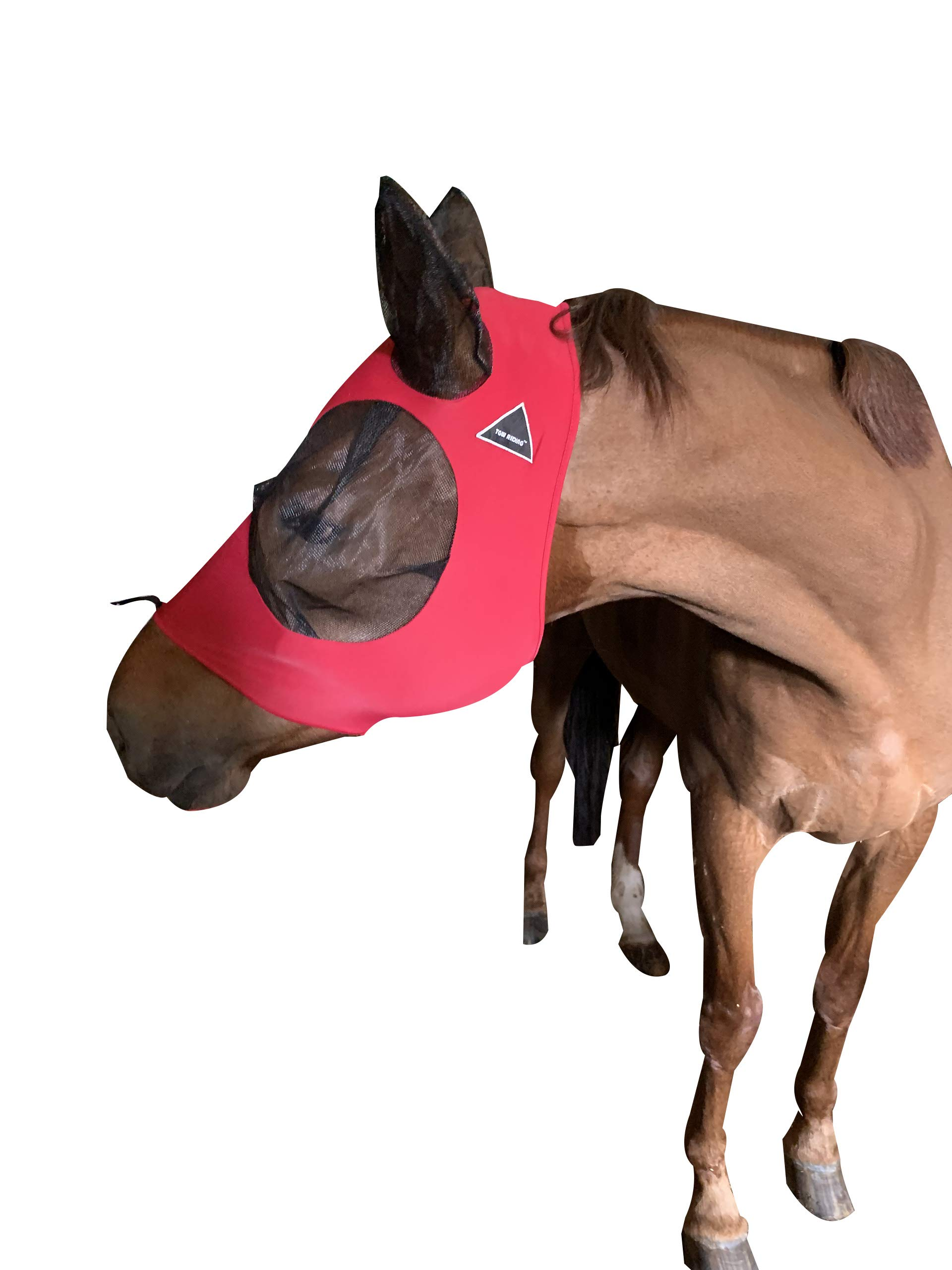 TGW RIDING Extra Comfort Lycra Grip Soft Mesh Horse Fly Mask with Ears (L, Bright Red) by TGW RIDING
