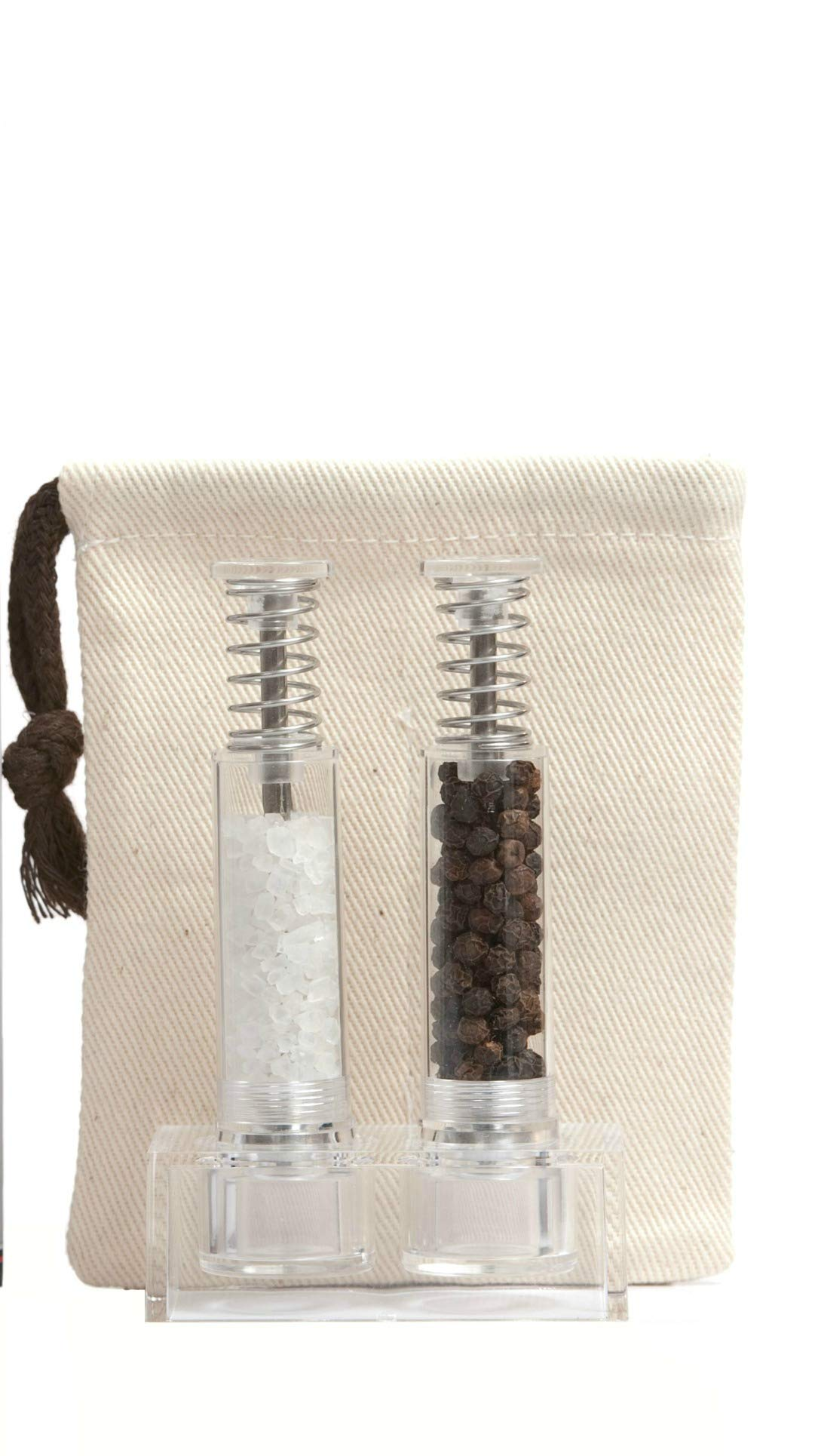 Travel Salt And Pepper Grinder Set, Grind Gourmet Original Pump & Grind Travel Gadgets, Spice Grinder, Pepper Mill, Small Salt Pepper Grinder, Free Pep Spice and Salt (Polycarbonate)