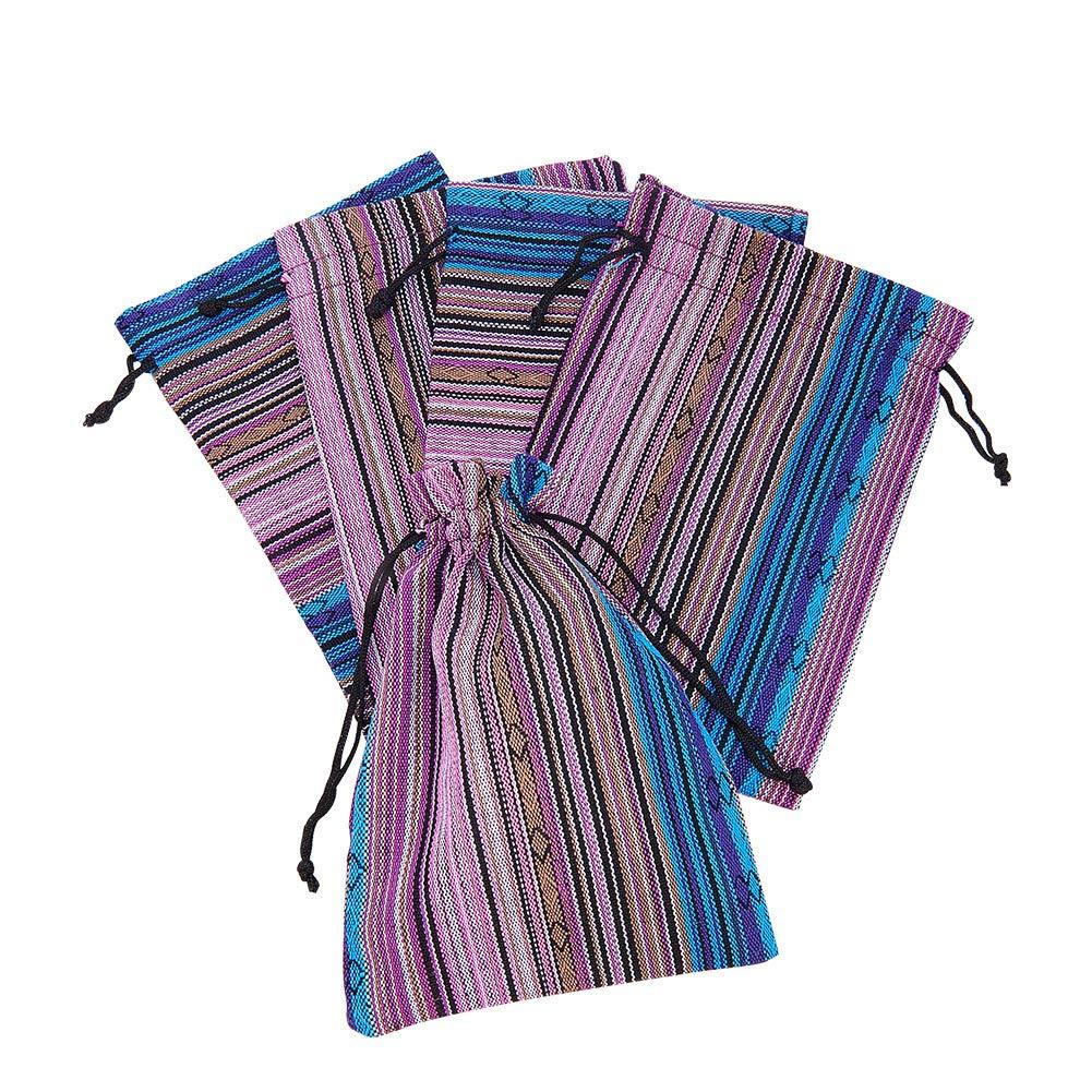 Pandahall - 5 sacchetti rettangolari in tessuto, stile etnico, con cordino, 17,5 x 12,5 cm, Tessuto, MediumOrchid 1, 17.5x12.5cm