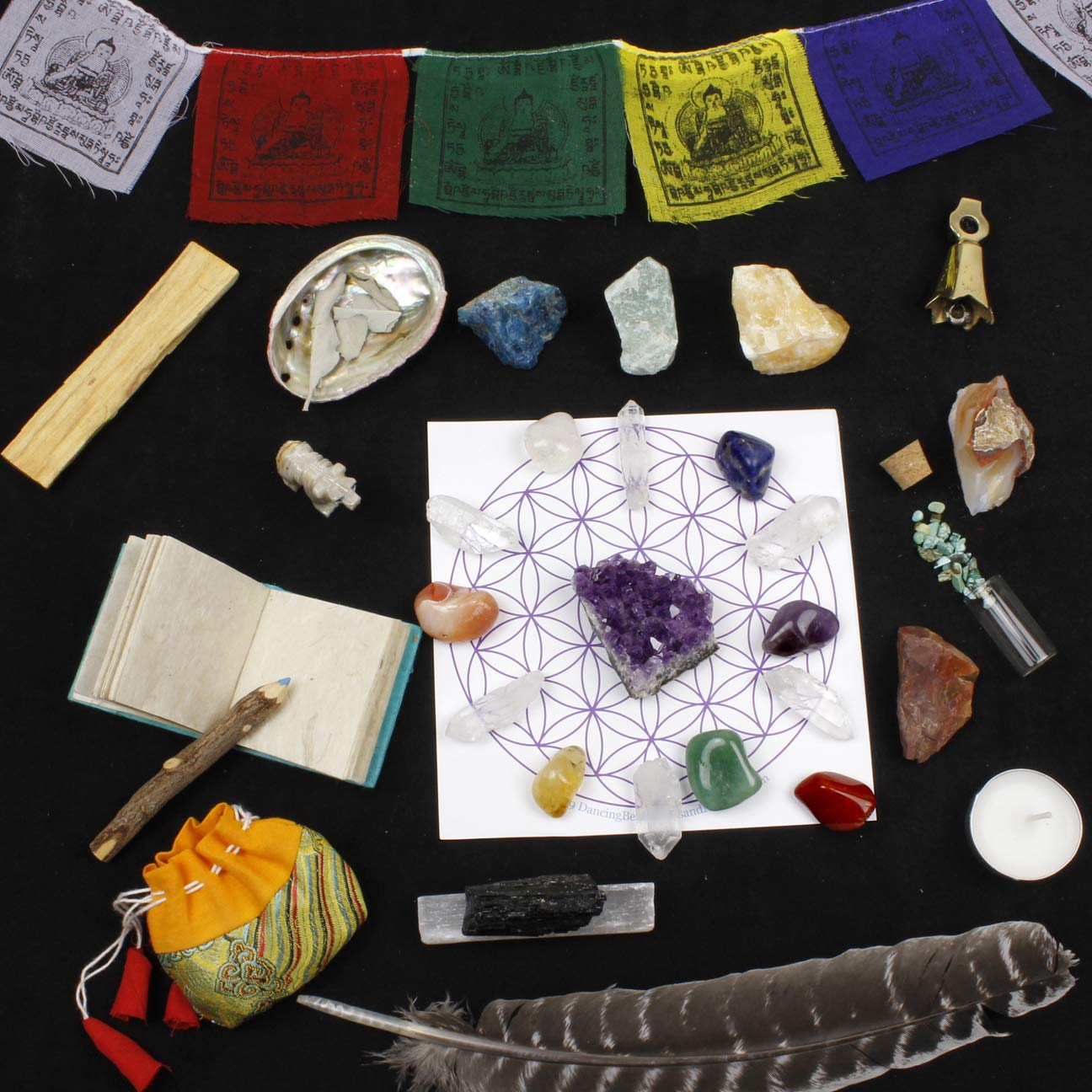 Healing Crystals Meditation Altar Kit (35 Pcs + Instruction Guides w/ Metaphysical Info) Chakra Balance Stones & Grid, Abalone Shell, Sage, Smudge Feather, Spirit Animal, Amethyst Cluster, Premium Set by Dancing Bear