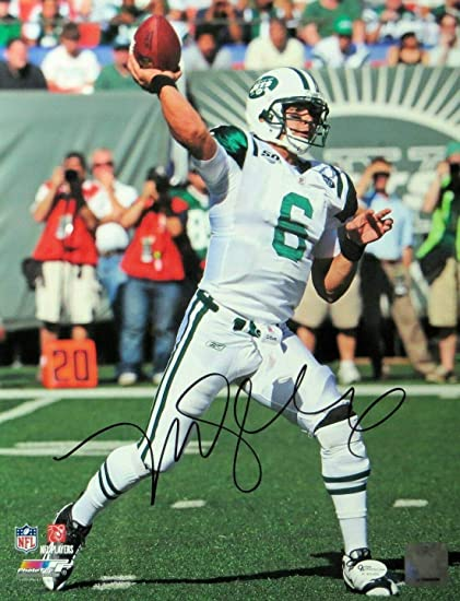 94a17f9c8cb Signed Mark Sanchez Photo - 11X14 Throwing White Jersey OA - Autographed NFL  Photos