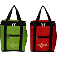 Right Choice Denim Multicolour Unisex Lunch Bag Combo, 26x22x14cm, Red and Green