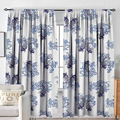 "Living Room Curtains Japanese,Underwater Creature Figures as Love Couples on Waves Japanese Unique Repeated Print,Dark Blue,All Season Thermal Insulated Solid Room Drapes 54""x84"": Home & Kitchen"