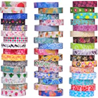 48 Rolls Washi Tape Set - 8mm Wide, Colorful Flower Style Design, Decorative Masking Tape for DIY Craft Scrapbooking Gift Wrapping