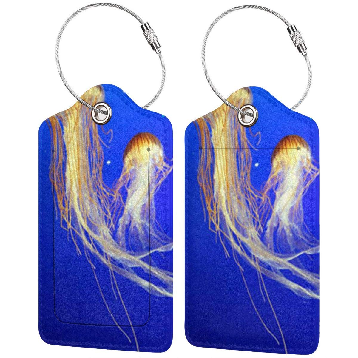 Jellyfish Leather Luggage Tags Personalized Address Card With Adjustable Strap