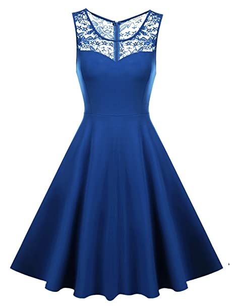HOTOUCH Women s Vintage Floral Lace Sleeveless Cocktail Evening Party Dress  (Blue ... d71ca38ac