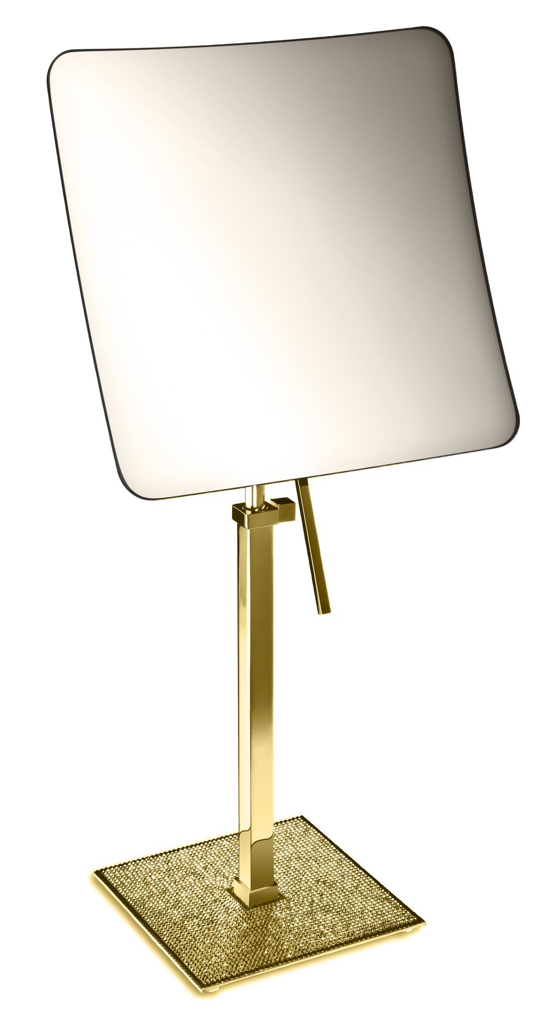 Starlight Square 5x Rectangular Magnifying Make up Cosmetic Mirror W/ Swarovski Crystal Diamonds (Polished Gold)