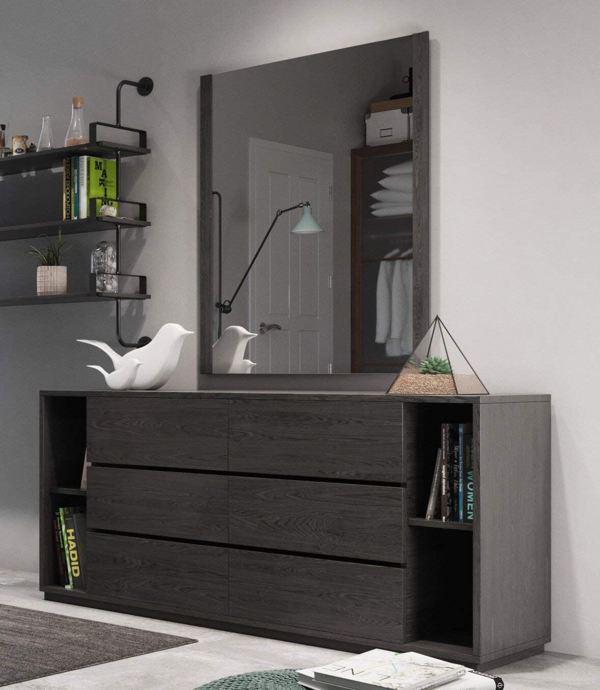 6 Drawers Double Dresser With Mirror Kitchen Dining