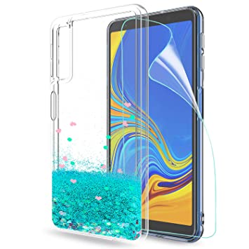 LeYi Compatible con Funda Samsung Galaxy A7 2018 Purpurina Carcasa Mujer Brillante Liquida Ballistic Transparente TPU Gel Bumper Silicona Fundas Case ...