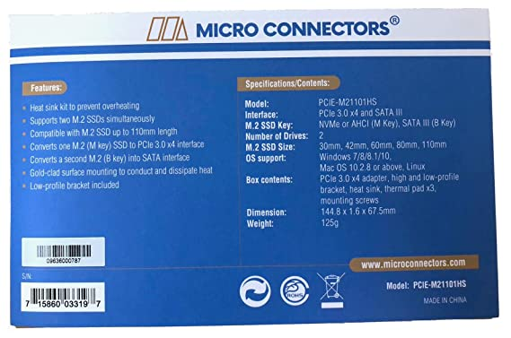 Micro Connectors M 2 NVMe + M 2 SATA 110mm SSD PCIe x4 Adapter with Heat  Sink