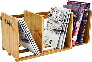 WELLAND Bamboo Desktop Bookshelf Small Adjustable Desk Storage Organizer