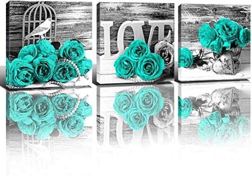 Teal Roses Floral Wall Art