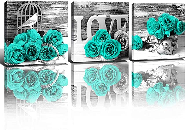 Amazon Com Teal Decor Wall Art For Living Room Turquoise Paintings Pictures Couples Bedroom Bathroom Kitchen Accessories Black And White Mint Green Roses Flower Canvas Prints Home Decorations Set 3 Panels 12x12 Everything