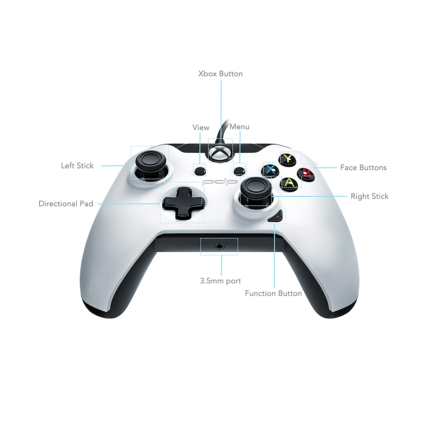 Amazon Com Pdp Wired Controller For Xbox One Xbox One X And Xbox One S Arctic White Video Games