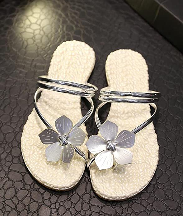 YOUJIA Damen Flach Sandale Böhmen Blumen Dekoration Beach Zehentrenner Flip Flops Schwarz 35 tTYDBf