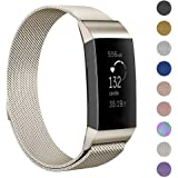 GeeRic Milanese Bands Compatible Fitbit Charge 3 Charge 3 SE, Milanese Loop Bracelet Stainless Steel Magnet Metal Replacement Strap, Wristbands Women Men Small Champagne
