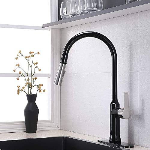 Kitchen Faucet,Matte Black Brushed Nickel Kitchen Sink Faucet,Best Modern Pull Down Farmhouse Sink Faucet,Commercial Single Handle Stainless Steel One Or Three Hole Faucets with Pull Out Sprayer