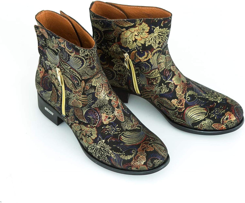 Zapato - Botas de Piel para Mujer Modelo 475 Mosaico Dorado.