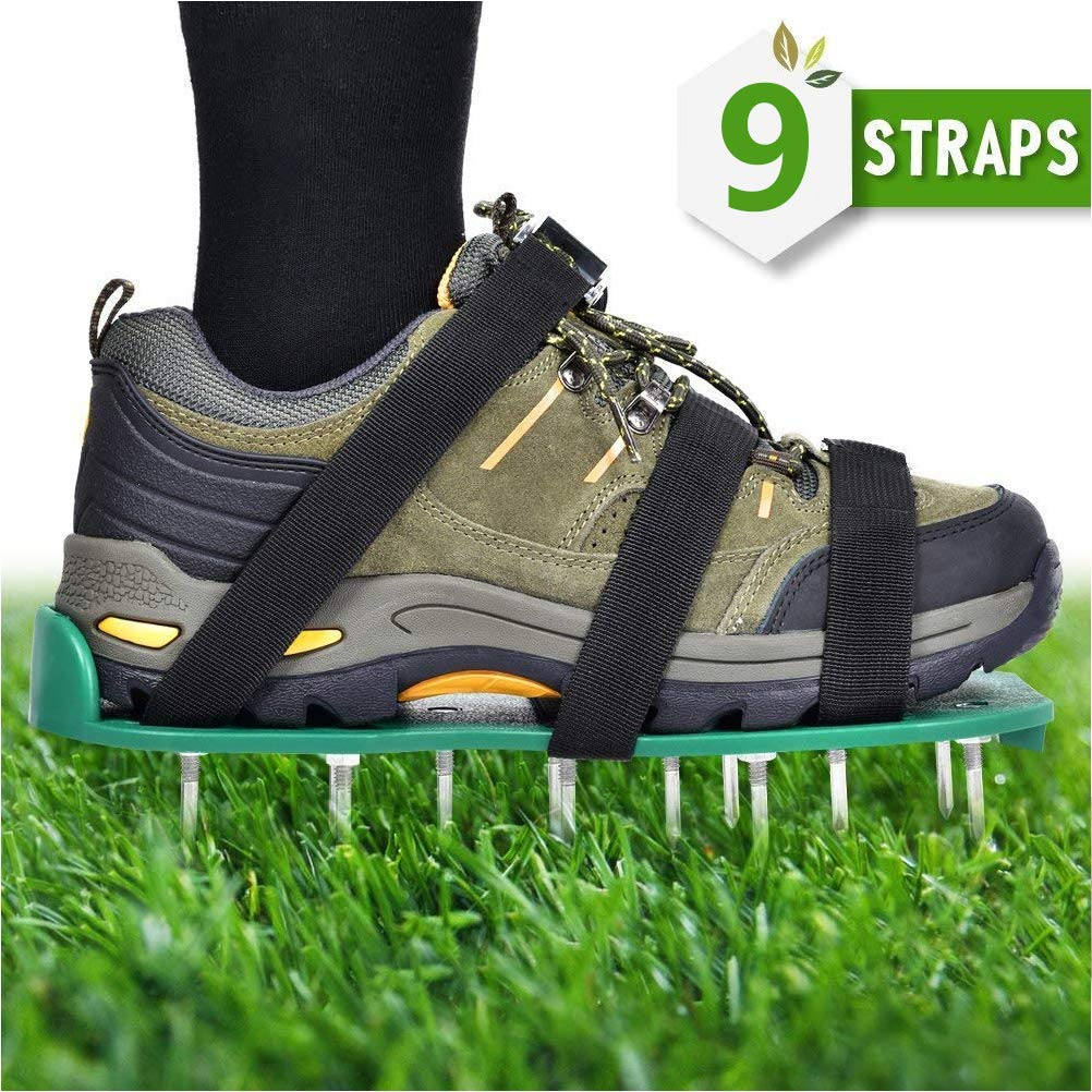 TIMESETL Lawn Aerator Shoes, 9 Adjustable Straps Zinc Alloy Buckles + 26 Long Spikes and Nut + 1 Wrench and Instructions Manual - Heavy Duty Spiked Sandals for Aerating Your Lawn or Yard by TIMESETL