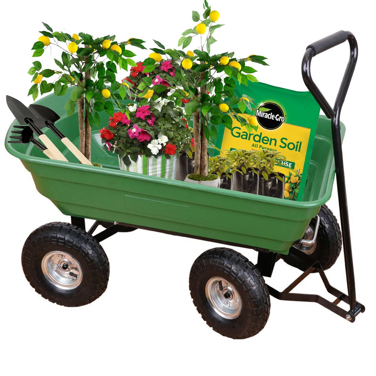 Yardeen Poly Garden Dump Utility Cart Wagon Carrier with Steel Frame 10-in Pneumatic Tires 650 lb Capacity Green