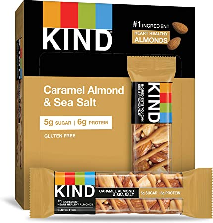 KIND Healthy Snack Bar, Caramel Almond & Sea Salt, 5g Sugar | 6g Protein, Gluten Free Bars, 1.4 Oz, 12 Count