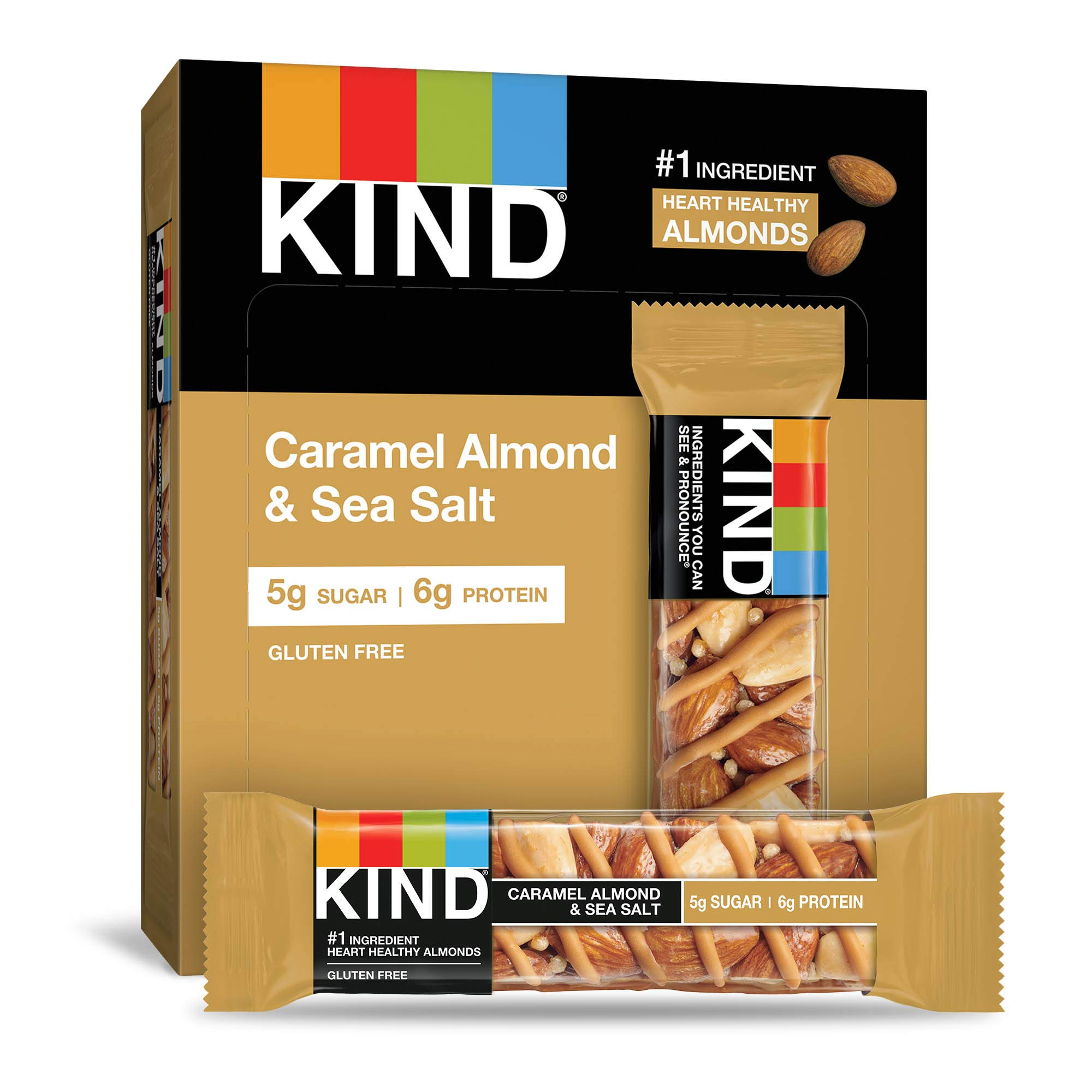 KIND Bars, Caramel Almond & Sea Salt, Gluten Free, Low Sugar, 1.4oz, 12 Count by KIND