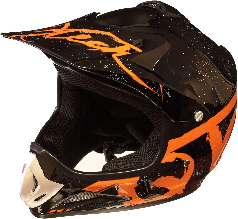 Qtech Ni/ños Casco del Camino Motocross MX ATV BMX 52-53cm Negro Mate NitroN S - Naranja