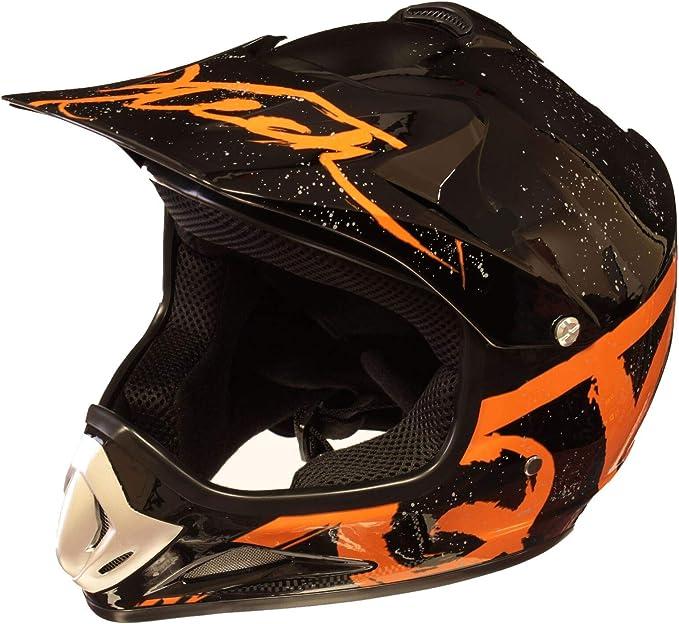 XS Casque de Moto pour Enfant Motocross Cross Off-Road BMX Cycle Blanc Brillant ATV Quad 51-52cm Rouge