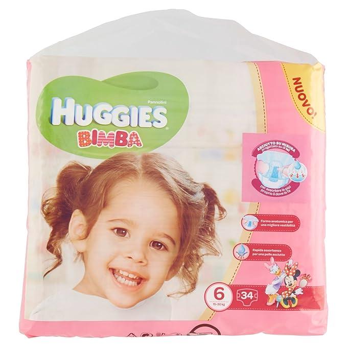 Huggies - Bimba - Pañales - Talla 6 (15 - 30 kg) - 34 pañales: Amazon.es: Salud y cuidado personal