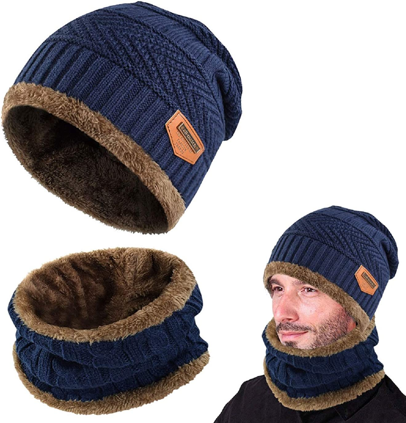 Hat Scarf Set UMIPUBO Thermal Knitted Beanie Hat and Scarf Circle Scarf Warm Skiing Hat Outdoor Sports Hat Scarf Sets for Men//Women