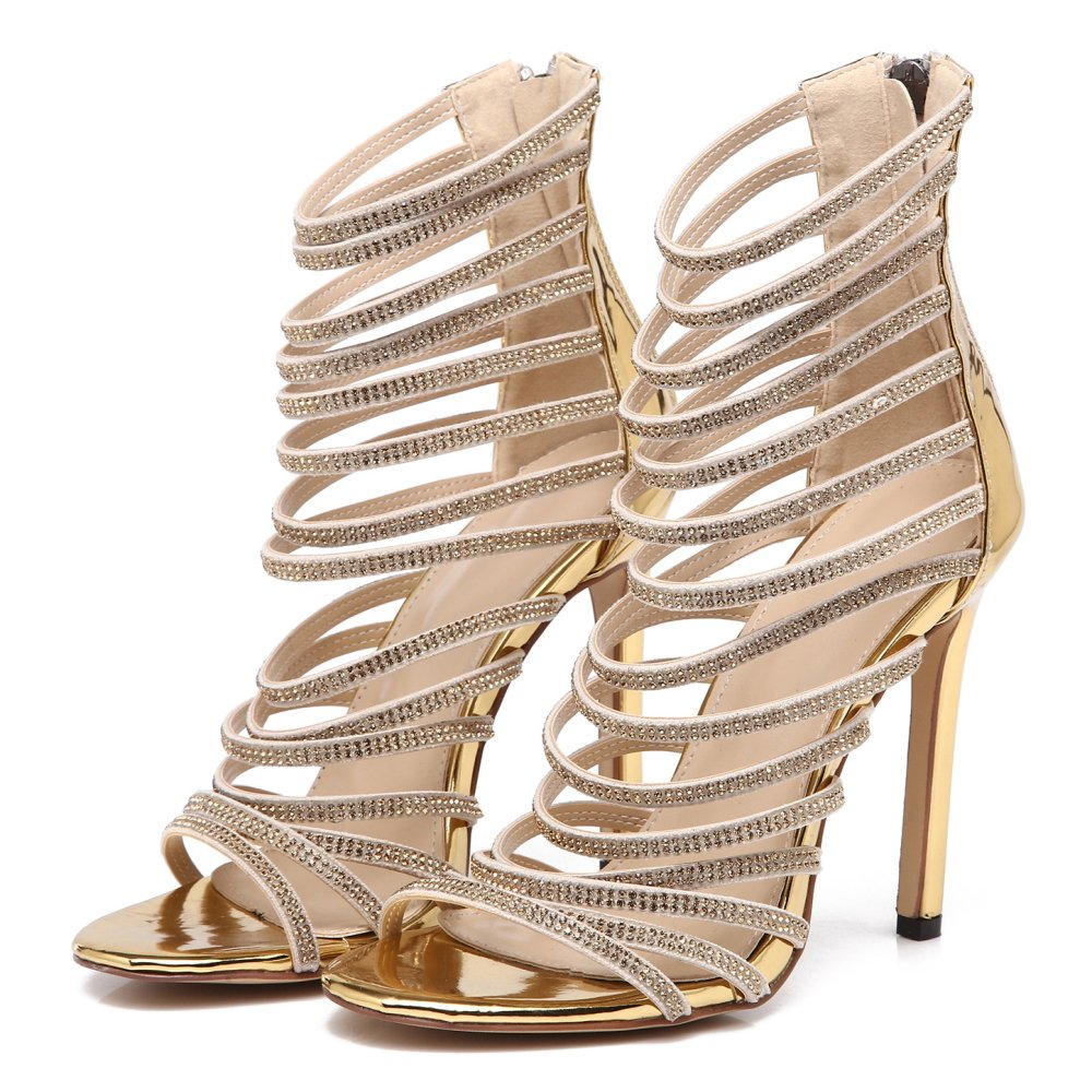 Womens Romain Chaussures Dames à Taille Talons Mariage Hauts Sangles Bar Sandales Parti De Mariage Bal Sandales Chaussures Gladiateur Taille Gold 7f9b74b - reprogrammed.space