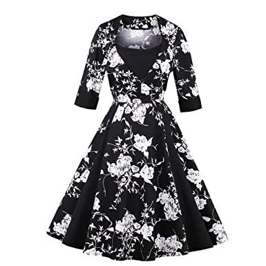 Women Plus Size Autumn Dress Long Sleeves Vintage Red Dot Dress Patchwork Dress Floral Retro Casual Party Swing Vestidos at Amazon Womens Clothing store: