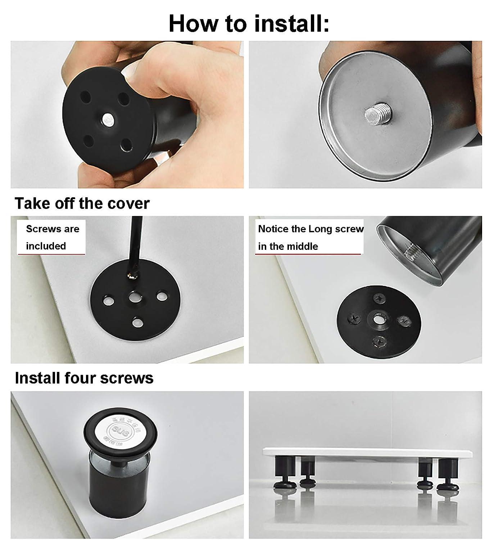 Estera de goma 4 unidades Patas de Metal muebles armario de cocina pies redondo Caja fuerte y silenciosa 50 x 120mm