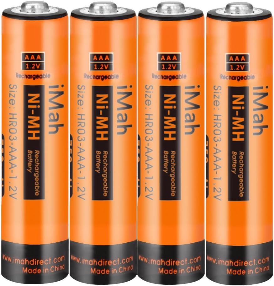iMah AAA Rechargeable Batteries 1.2V 750mAh Ni-MH, Also Compatible with Panasonic Cordless Phone Battery 1.2V 550mAh HHR-55AAABU, 750mAh HHR-75AAA/B and 400mAh BK40AAABU, Outdoor Solar Lights, 4-Pack