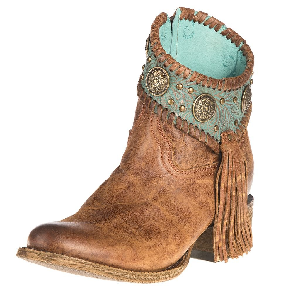 Corral Women's Turquoise Fringe Ankle Boot Round Toe Cognac 7 M