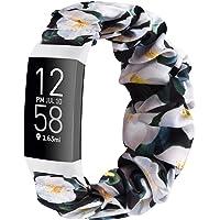 Wanme Compatibel voor Fitbit Charge 3 Strap/Fitbit Charge 4 Strap, Gedrukte Elastische Stof Strap, Geweven Canvas Doek…