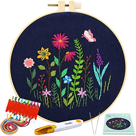 Daisy Stitch Set for Beginners Full Range of Stamped Embroidery Kits with Embroidery Pattern Embroidery Hoop and Colour Threads VEGCOO Embroidery Starter Kit with Pattern