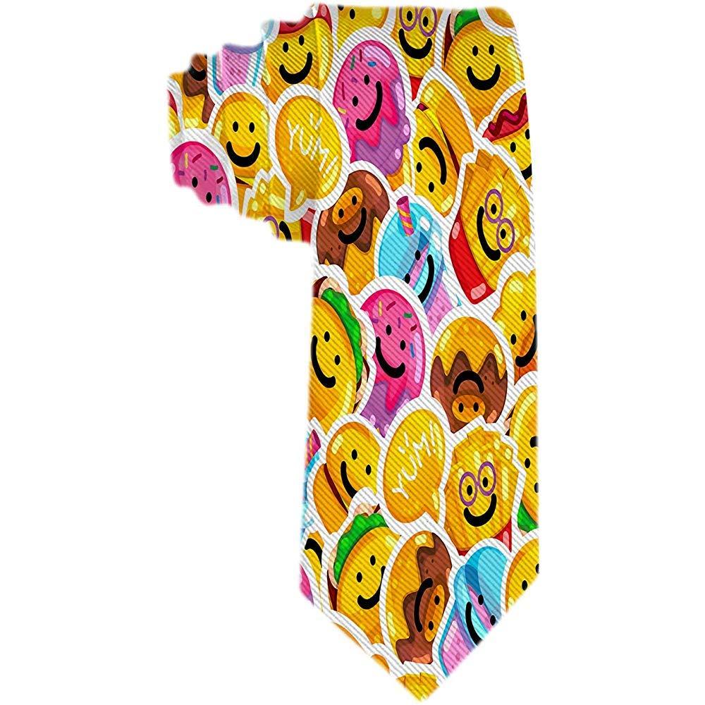 Hombres Patrón moderno Emoji Comida rápida Sonrisa Corbatas ...