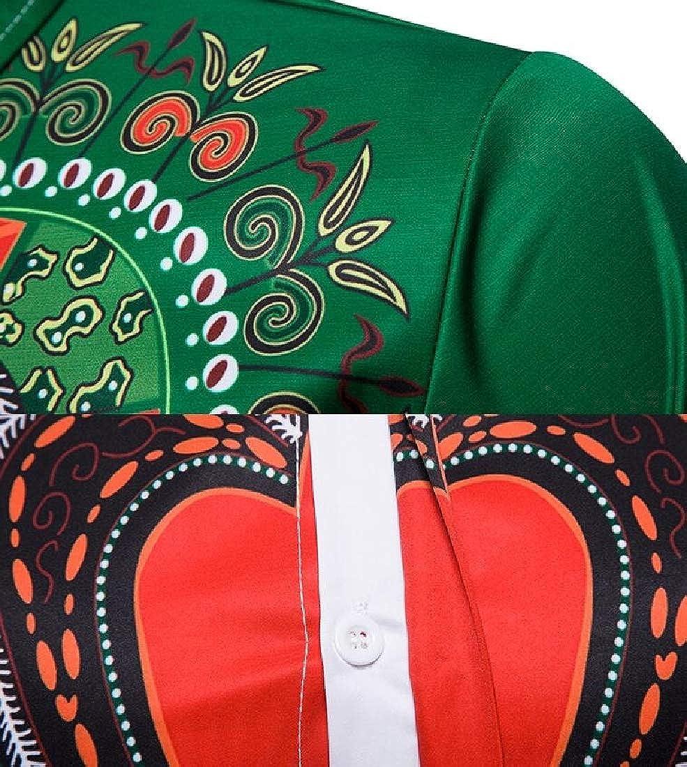 WSPLYSPJY Mens Fashion Front Button African Dashiki Floral Printed Dress Shirts Top